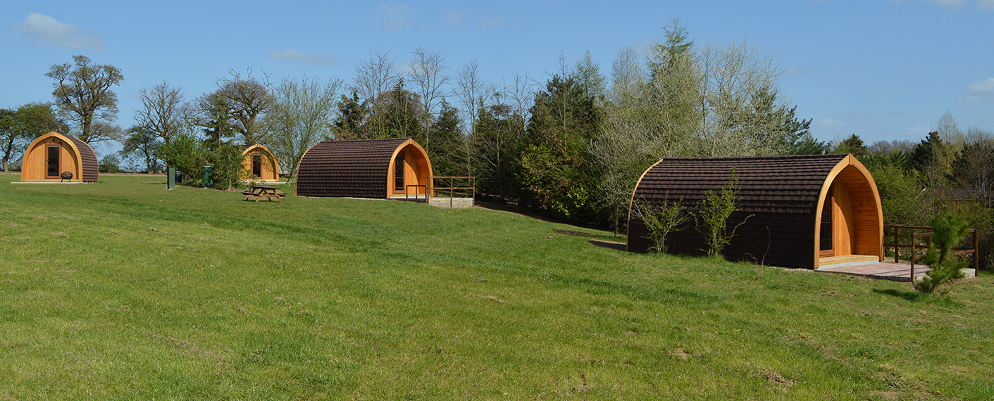 Cosy Camping Suffolk - Site view with 4 pods
